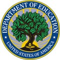 Logo for US Department of Education a leafy green tree surrounded by a blue circle